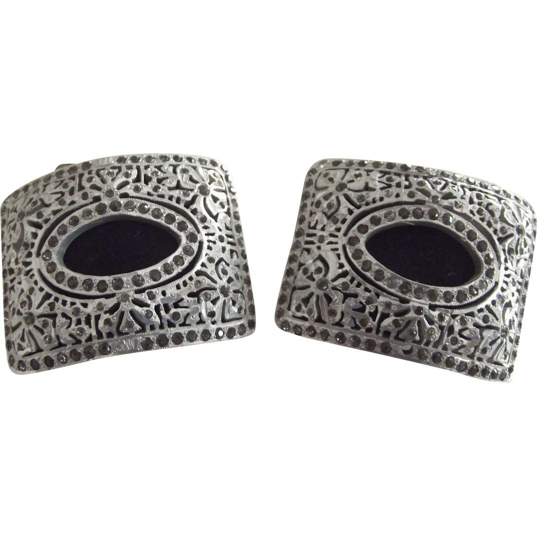 Pair of Early Shoe Clips With Marcasites