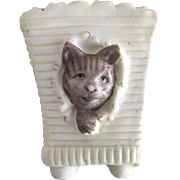 Tiny Vase With Cat Done In Relief, Perhaps For A Dollhouse