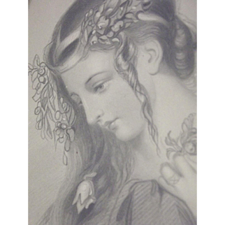 Black and White Small Print of A Beautiful Lady In Profile