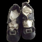 Black Doll Shoes, Original Toe Trim