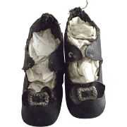Black Doll Shoes, Original Toe Trim