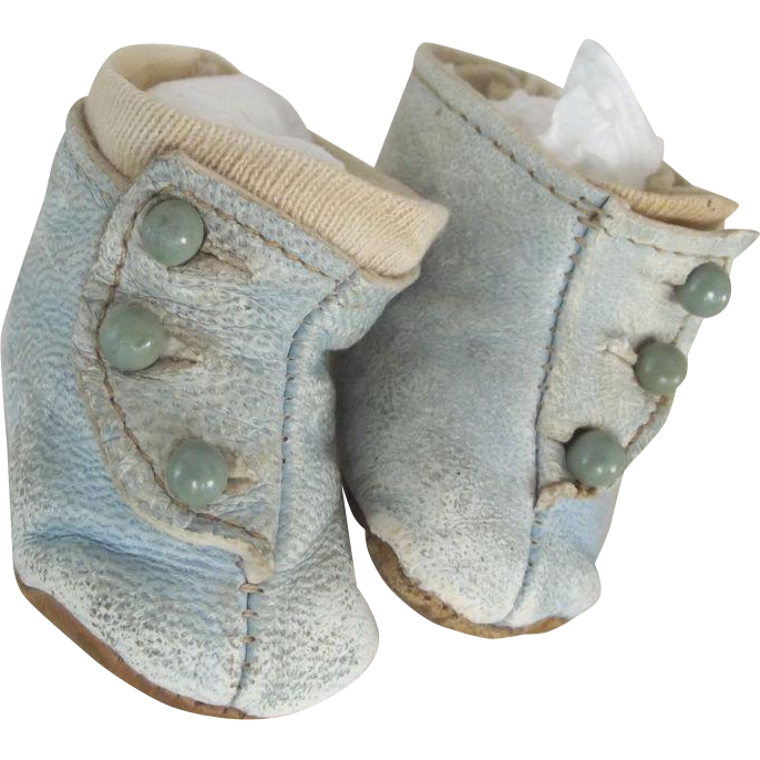 Blue Leather Boots For Doll With Blue Shoe Buttons