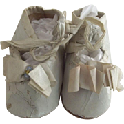 Blue Shoes With Silk Trim For Doll