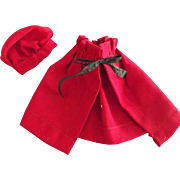 Vintage Red Cloak and Tam Hat For Small Doll