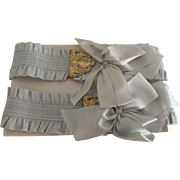 Early Blue Flapper Garters With Silk Bows and Fancy Brass Trim