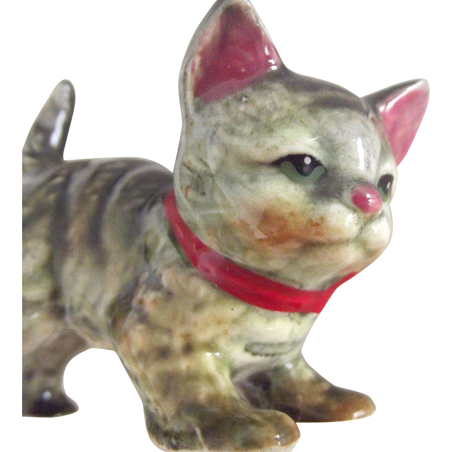 Kitten Figurine With Red Bow