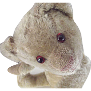 Straw Stuffed Teddy Bear, Mohair, Glass Eyes