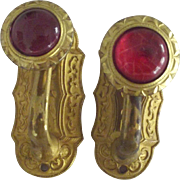 Victorian/Edwardian Hooks With  Glass Cabochons