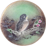 Small Enamel On Copper Dish With Bird and Flowers
