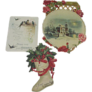 Three Victorian Christmas Cards, One with Flowers, One boot, One With Birds
