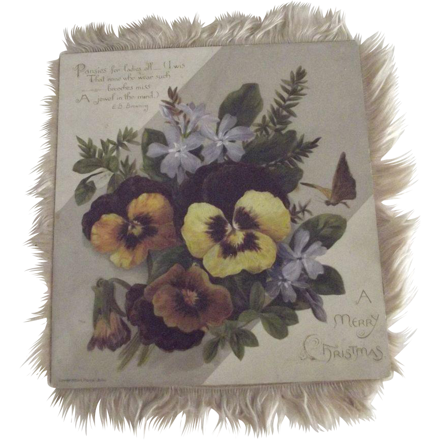 Victorian Fringed Christmas Card With Pansies
