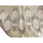 Art Nouveau Embroidered  Design On Linen Remnant