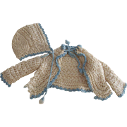 White Sweater With Blue Trim For Doll