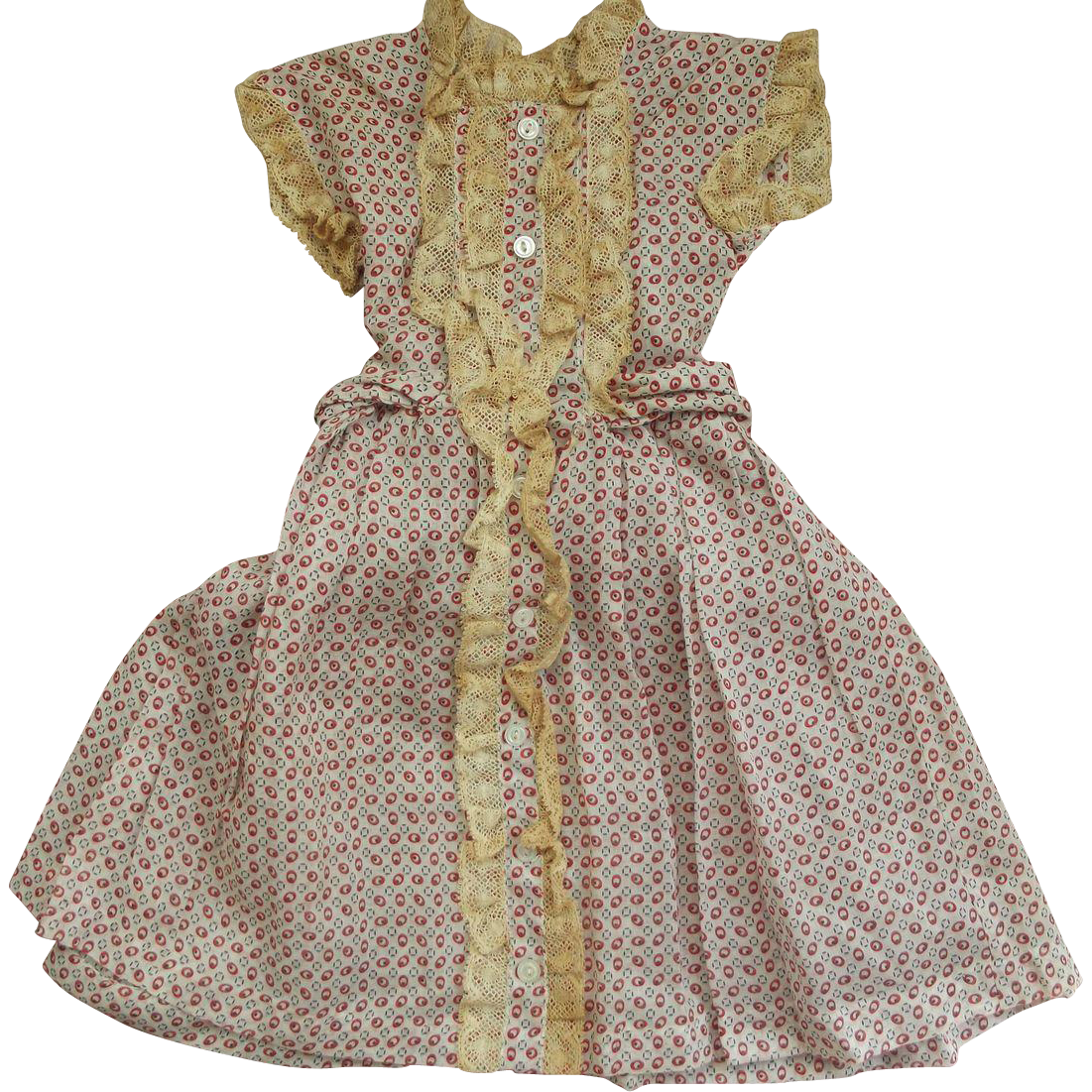 Large Fine Cotton Doll Dress With Lace