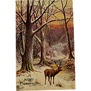 Victorian/Edwardian Tucks Postcard With Deer Oilette