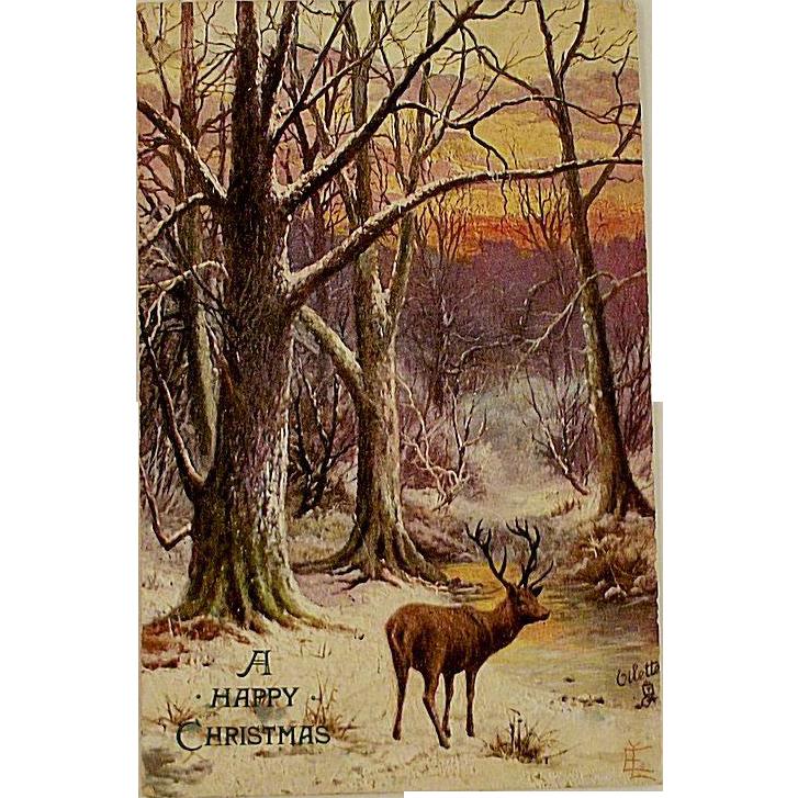 Victorian/Edwardian Tucks Postcard With Deer Oilette