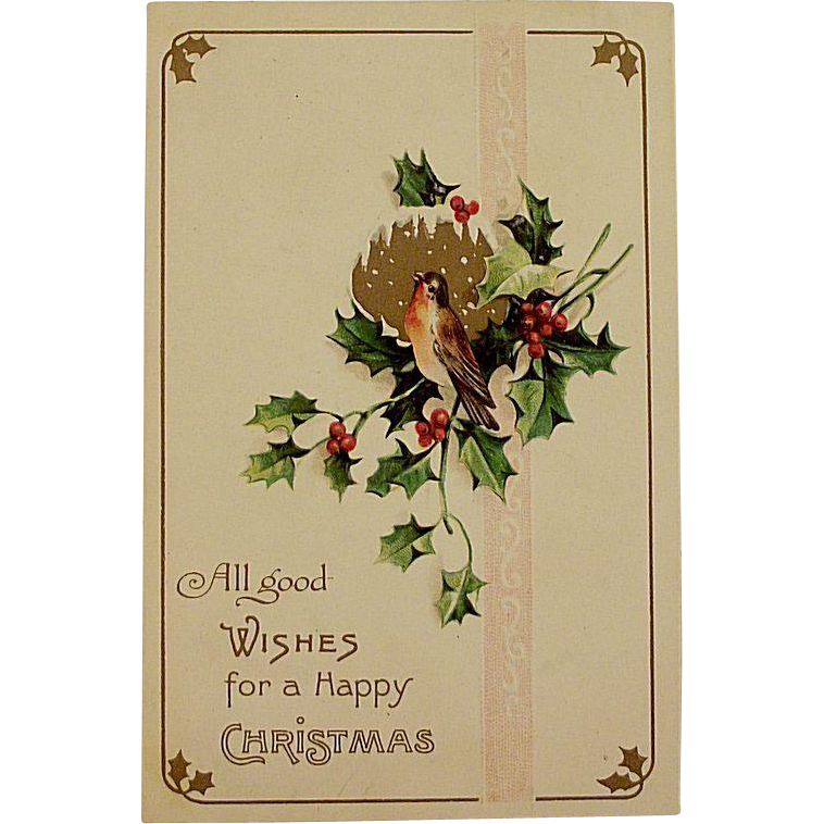 Victorian/Edwardian Christmas Postcard With A Robin and Holly