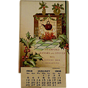 Edwardian Christmas Postcard With  Holly and Fireplace and Calendar From 1908