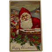 Edwardian Christmas Postcard With Santa Claus, Chimney, Toys and Holly
