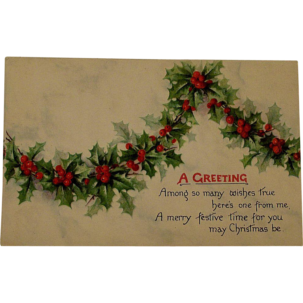 Victorian/Edwardian Christmas Postcard With Holly Swag
