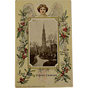 Victorian/Edwardian Christmas Franz Huld Postcard With An Angel and St. Patrick's Church New York
