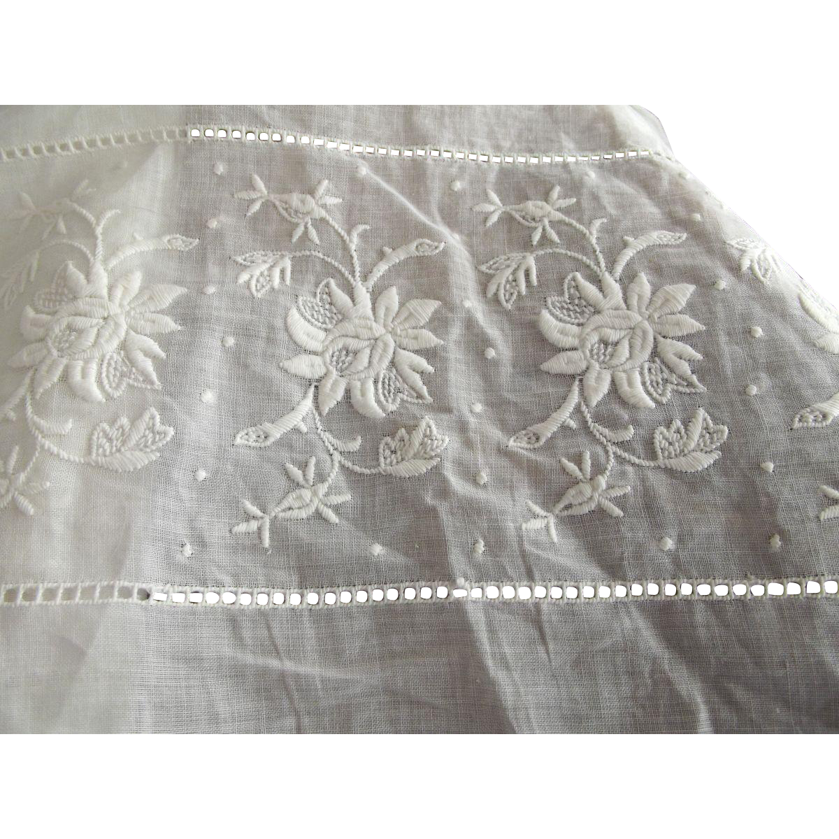 Wide Embroidered Insertion Trim For A Garment or Linen