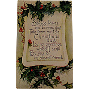 Edwardian Christmas Postcard With Holly and A Poem Has Rare Red Cross Stamp