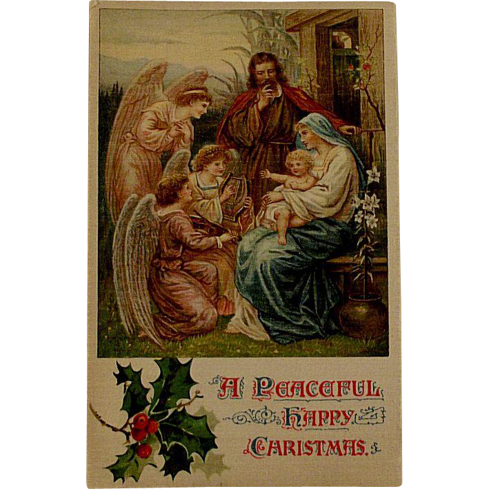 Edwardian Ernest Nister Religious Christmas Postcard