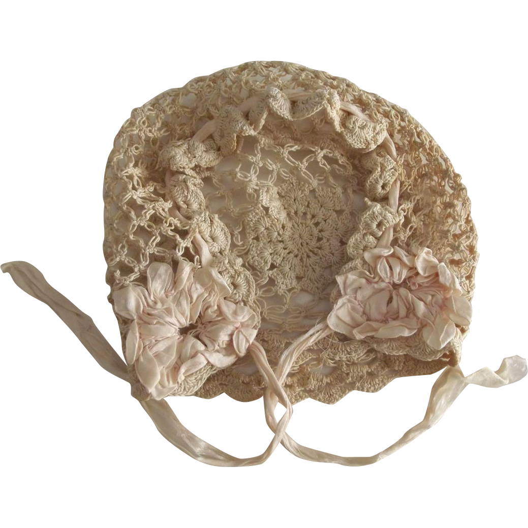 Baby Bonnet With Silk Rosettes