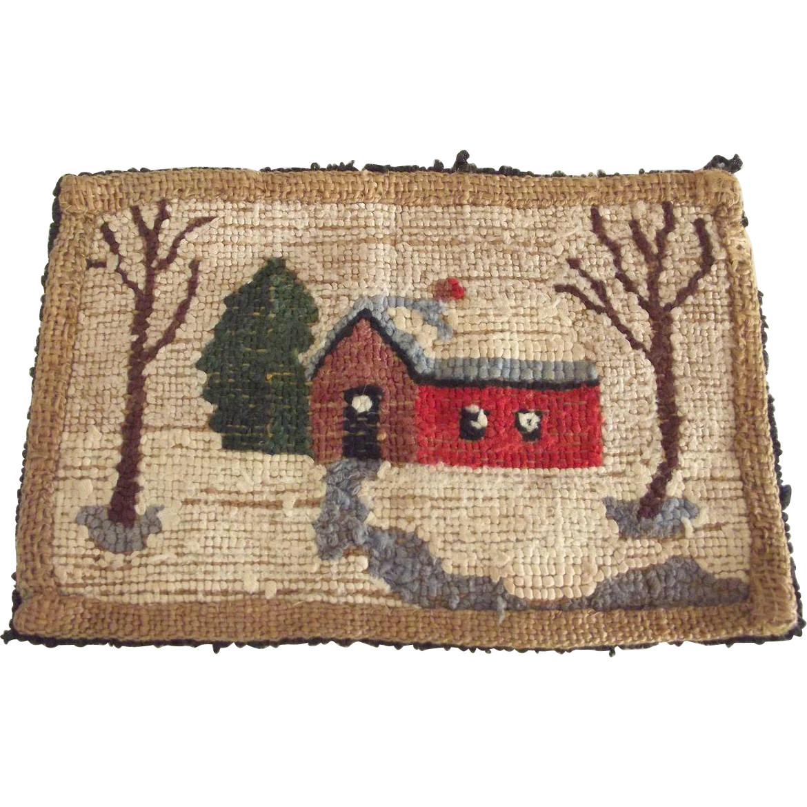Doll House Hooked Rug With Winter Scene