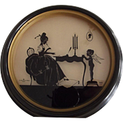 "Drawn Silhouette ""The Love Letter"" With Cupid and Lady At Writing Desk"