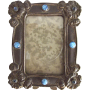 Small Art Nouveau Frame With Blue Art Glass Stones and Blue Rhinestones