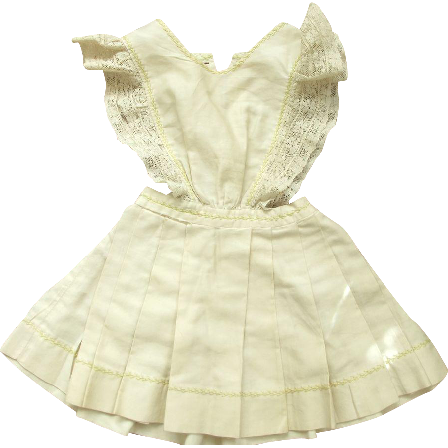 Silk Doll Jumper With Feather Stitching Trim and Lace All Hand Sewn
