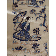 Finest Silk Needlework On Silk of Japanese Maidens With Bonsai Trees