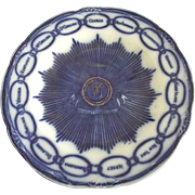 Flow Blue Martha Washington Plate With Fifteen States Old Replica