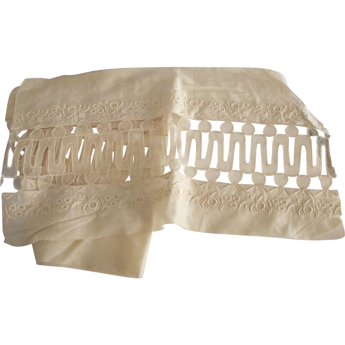 Pair of Large Insertion Lace Pieces