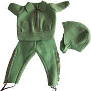 Wool Felt  Doll Snow Suit With Leggings and Helmet Type Hat