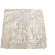Early Needlework Square With Cherubs Building A Fire