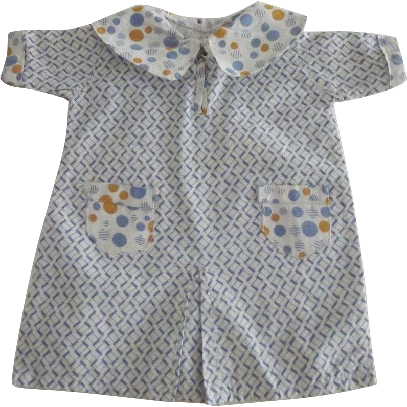 Deco Style Doll Dress With Abstract Print and Polka Dot  Collar, Sleeves and Pockets