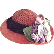 Felt Doll Hat With Netting, Flowers and Bird