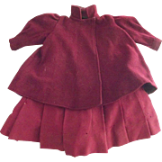 Two Piece Red Wool Doll Outfit As Is
