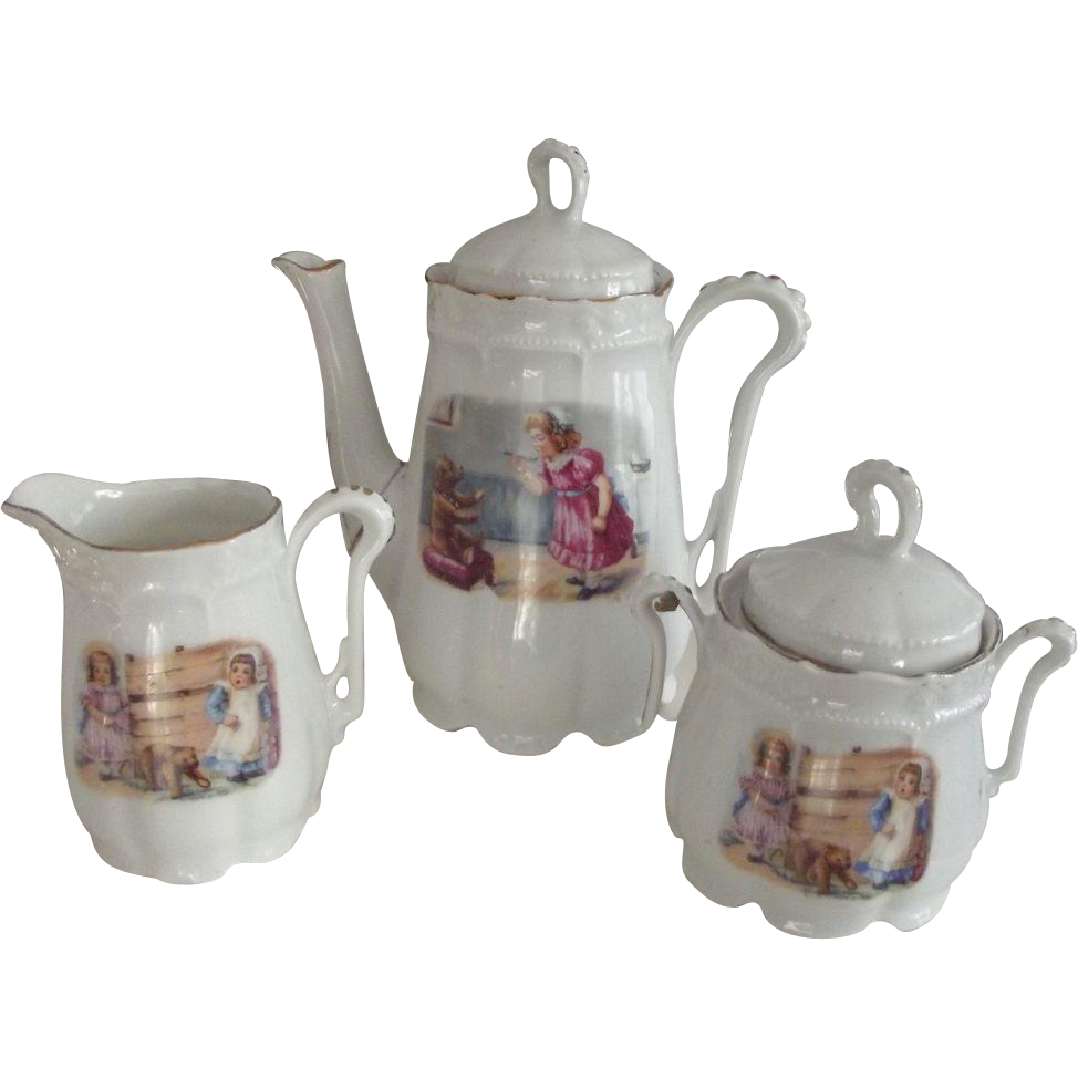 Child's or Doll's Tea Set With Pictures of Children With Bears and Dolls