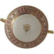 Hand Painted Nippon Double Handled Bowl With Gold and Pink