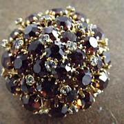 Beautiful Austrian Pin Amber and Clear Rhinestone