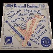 Baseball Emblem Cardinals 1952