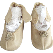 Beige Cloth Shoes With Original Toe TRim