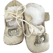 White Leather Doll Shoes With Toe Trim