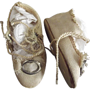 German Cloth  Doll Shoes
