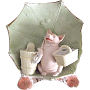 German Pig Figurine, Vase, Match Holder