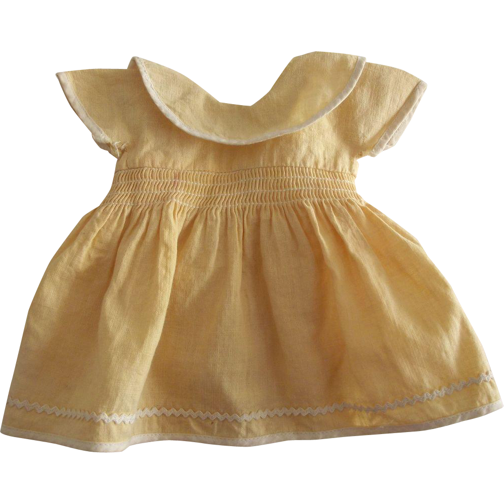 Yellow 1950's Doll Dress With Smocked Waist